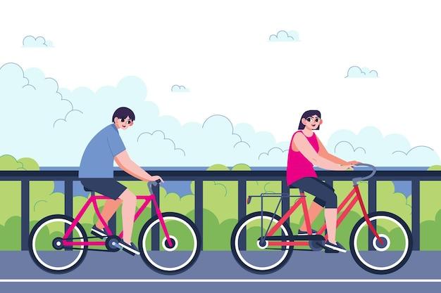 Lokales tourismuskonzept des flachen entwurfs mit fahrrädern