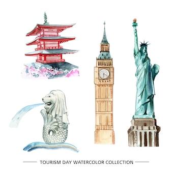 Lokalisierte aquarellillustration des tourismus sammlungsdesign