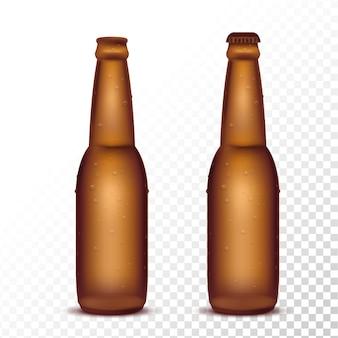 Lokalisierte bierflasche auf transparentem hintergrund