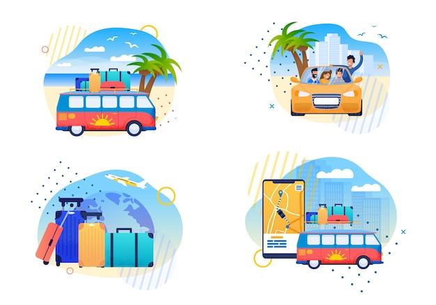 Lokalisierte glückliche sommer-reise-flache vektor-karikaturen