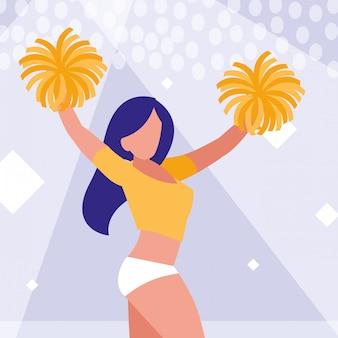 Lokalisierte ikone der frau cheerleader
