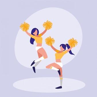 Lokalisierte ikone der frauen cheerleader