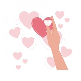 Lokalisierte ikone der hand anhebende liebe herz