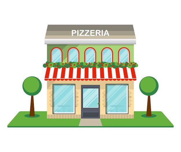 Lokalisierte ikone der pizzeria fassade