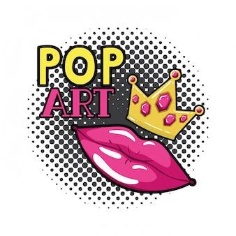 Lokalisierte ikone der weiblichen lippenknallkunstart