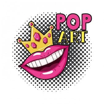 Lokalisierte ikone der weiblichen mund-pop-art