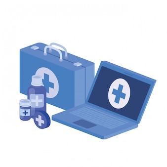 Lokalisierte ikone des laptops und der laborinstrumente