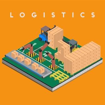 Lokalisierte ikone des logistikgeschäfts industriell auf hintergrund