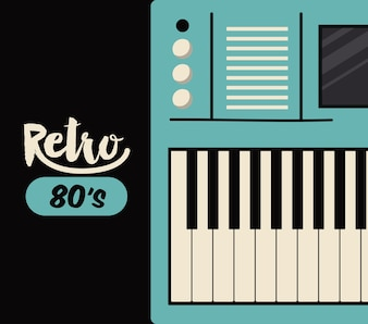 Lokalisierte Ikonendesign des Retro- Klavierplakats