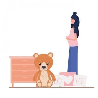Lokalisierte illustration der schwangeren frau
