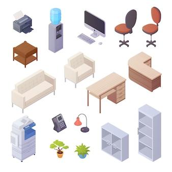 Lokalisierte isometrische elemente des büroinnenraums mit schreibtischkühlerstühlen computersofadrucker-buch sh