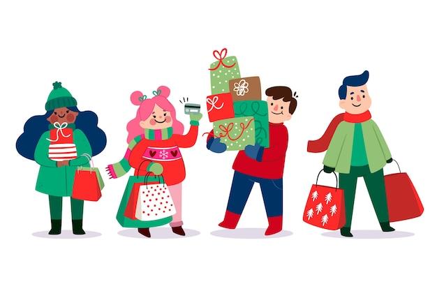 Lokalisierte leute, die weihnachtsgeschenke kaufen