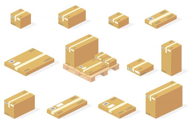 Lokalisierte lieferungsikonen der paketkartonkästen