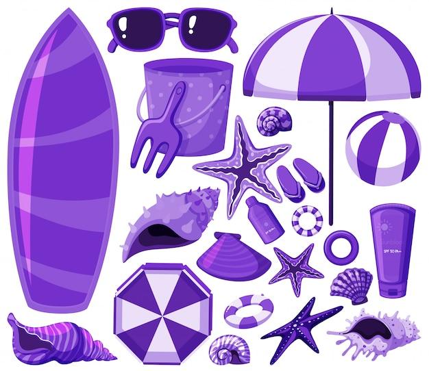 Lokalisierte strandeinzelteile eingestellt in purpur