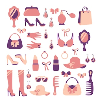 Lokalisierte vektorillustration der frauenmode stilvolle zufällige einkaufszusatzsammlung