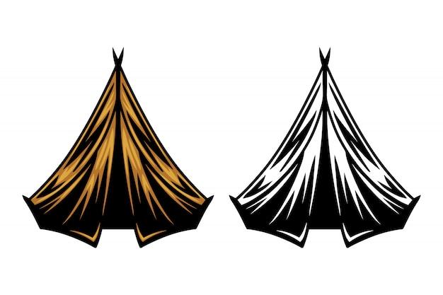 Lokalisierte vektorillustration der weinlese retro- campingzelt