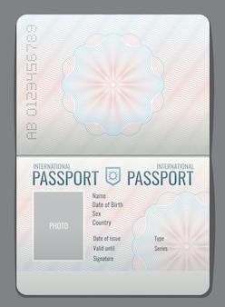 Lokalisierte vektorillustration des offenen passes des freien raumes schablone. dokument für reise- und immigrationsillustration