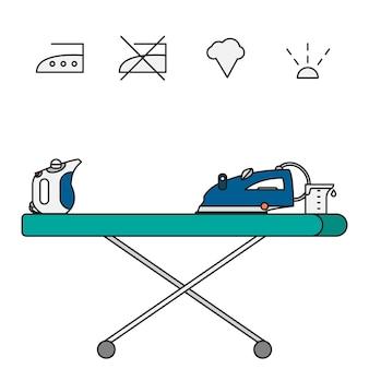 Lokalisierter eisen- und handdampfer mit symbolen auf bügelbrett und becher.