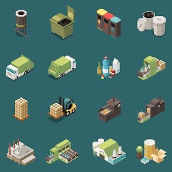 Lokalisierter isometrischer abfall, der die ikone eingestellt mit unterschiedlichen recyclingbeutel-abfallkörben und unterschiedlicher fabrikillustration aufbereitet
