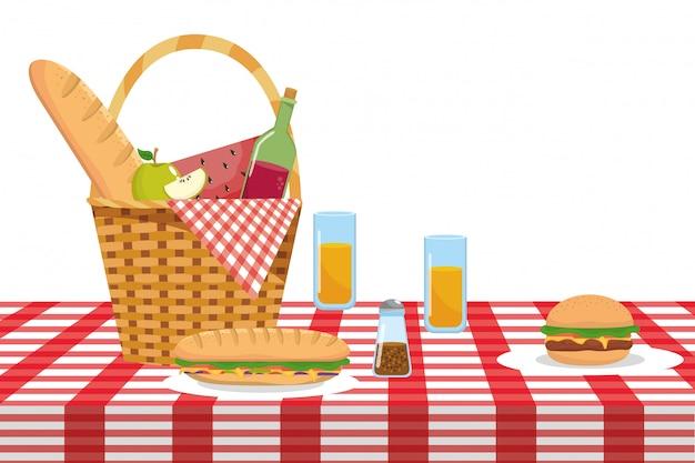 Lokalisierter picknickkorb-vektorillustrator