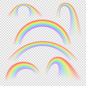 Lokalisierter satz des sommers realistische regenbogenbögen. regenbogenbogen farbiges spektrum