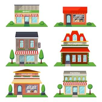 Lokalisierter vektorsatz des restaurants und des shops fassade