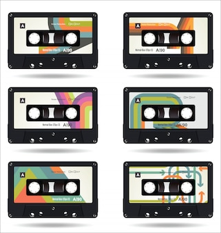Lokalisierter weißer hintergrund der retro- weinlese kassette