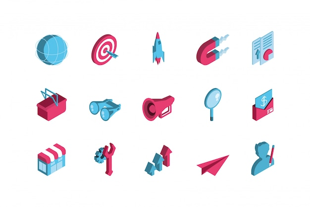Lokalisiertes digitales marketing-ikonenbühnenbild
