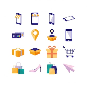 Lokalisiertes gesetztes vektordesign der einkaufs- und e-commerce-ikone