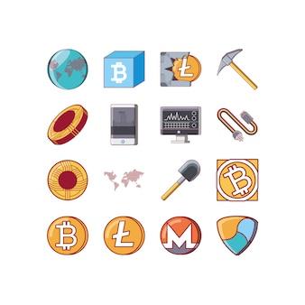 Lokalisiertes gesetztes vektordesign der geld- und bitcoin ikone