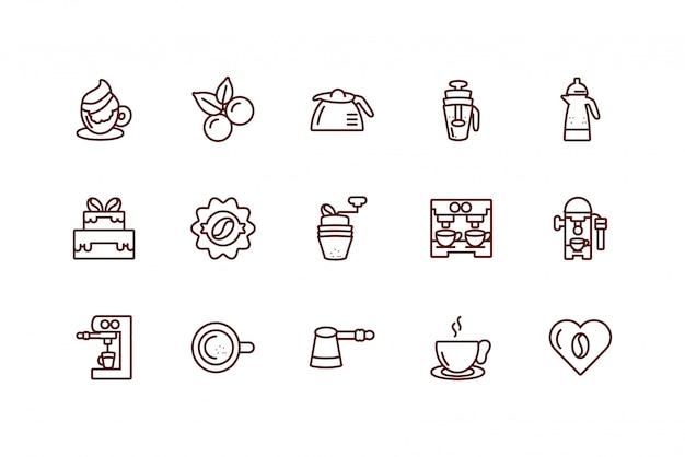 Lokalisiertes gesetztes vektordesign der kaffeeikone