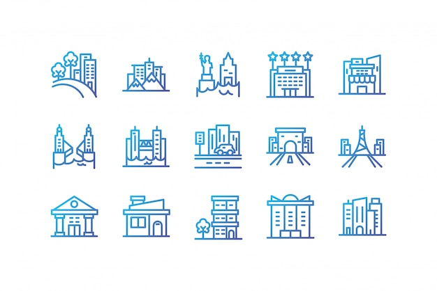 Lokalisiertes gesetztes vektordesign der stadtgebäude-ikone