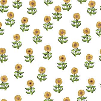 Lokalisiertes nahtloses muster mit dekorativer gelber konturierter sonnenblumenverzierung. weißer hintergrund. zufälliger druck. grafikdesign für packpapier und stofftexturen. vektor-illustration.