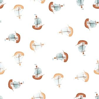 Lokalisiertes nahtloses muster mit segelbootschiffdruck. weißer hintergrund. pastelltöne ornament. einfacher stil. entworfen für stoffdesign, textildruck, verpackung, abdeckung. vektor-illustration.