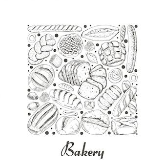 Lokalisiertes quadrat von bäckereiprodukten