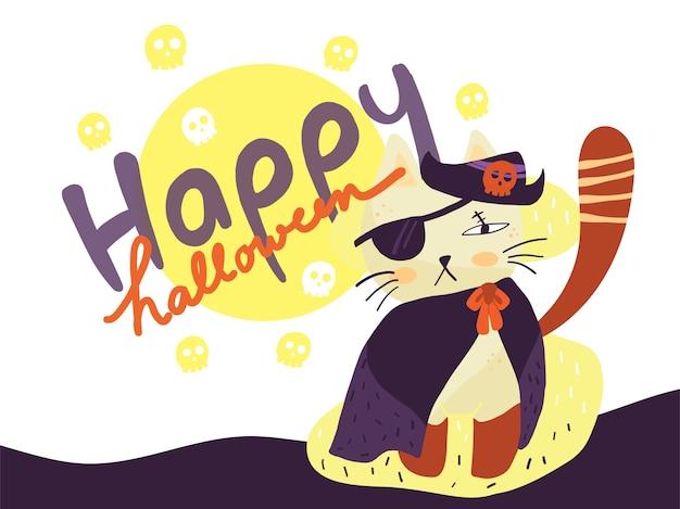 Lokalisiertes tragendes piratenkostüm der netten katze für glückliches halloween