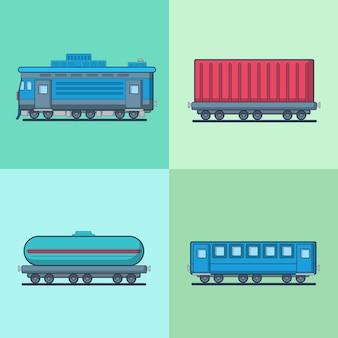 Lokomotive personenwagen wagen zisterne eisenbahn eisenbahn transport set.