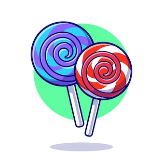 Lollipop candy cartoon icon illustration.