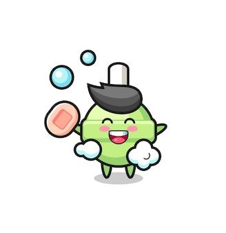 Lollipop-charakter badet, während er seife hält, süßes design für t-shirt, aufkleber, logo-element