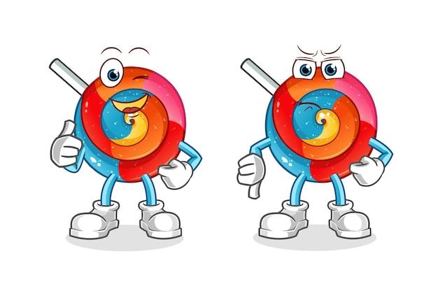 Lollipop daumen hoch und daumen runter cartoon