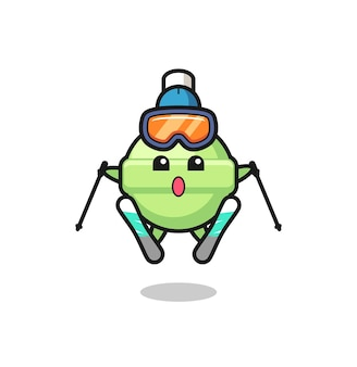 Lollipop-maskottchen-charakter als skispieler, süßes stildesign für t-shirt, aufkleber, logo-element