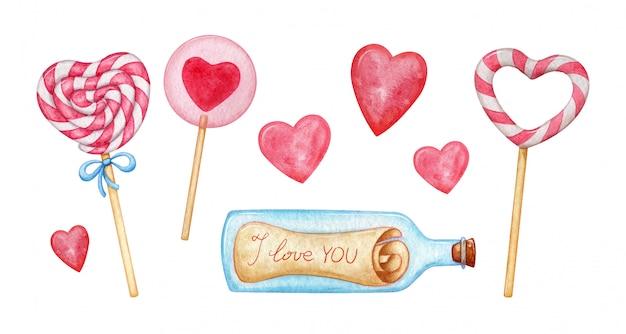 Lolly in herzform, glasflasche mit einem brief. sammlung aquarellelemente für valentinstaggrüße