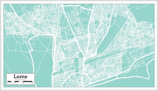 Lome togo stadtplan im retro-stil. übersichtskarte. vektor-illustration.