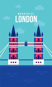London-brücken-flache plakatillustration