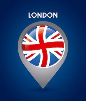 London-Design über blauer Hintergrundvektorillustration