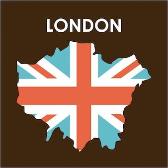 London-design über braune hintergrundvektorillustration