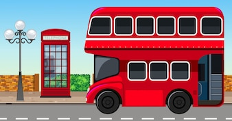 London Doppeldeckerbus in der Stadt
