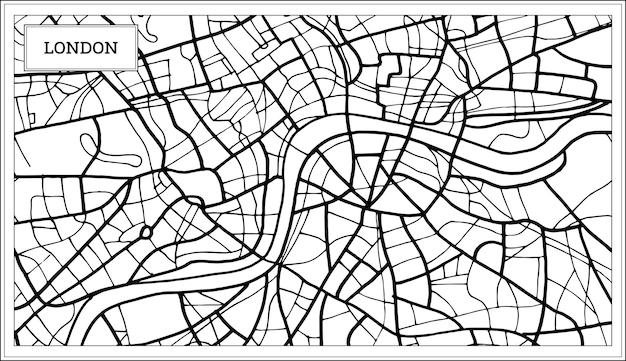 London-karte in schwarzweiss-farbe. vektor-illustration. übersichtskarte.