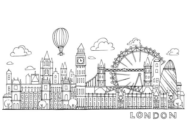 London kritzelt zeichnungslandschaft