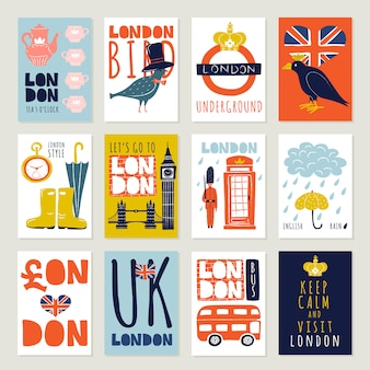 London-plakate und fahnen eingestellt